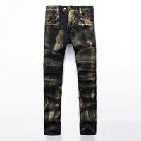 marcas famosas designer jeans venda por atacado-New Alta Qualidade Lavado Azul Jeans Rasgado Homens Buracos Denim Super Skinny Famoso Designer de Marca Calças Jeans Motociclista Arranhado