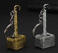 thor hammer gold al por mayor-Llavero de oro de martillo de metal Llavero de la moda de los vengadores Maravilla Thor de Thor