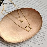 Wholesale 925 sun necklace resale online - Sterling Silver Funny Face and Moon Choker Two Layered Sun Choker Necklaces Double Layering Choker Women Charm