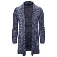 Maglione con cappuccio in maglia di lunghezza media degli uomini cardigan solido casuale del rivestimento del cappotto del Knit trincea uomo cardigan