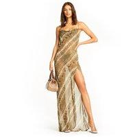 leopard sommer maxi kleider großhandel-Womens Kleider 2019 Sommer Neue Mode Print Maxi Kleid Sexy V-ausschnitt Sling Kleid Mode Perspektive Tüllrock