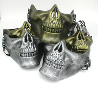 Wholesale airsoft lower face mask for sale - Group buy Half Face Protective Skull Mask Gold Silver Airsoft Mask Halloween Party Scary Masks Masquerade Cosplay Plastic Horror Mask DBC VT0781