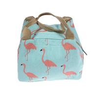 camping glacières achat en gros de-Flamingo Lunch Bags Femmes Portable Fonctionnel Toile Animal Isolé Thermique Pique-Nique Enfants Cooler Boîte À Lunch Sac Fourre-tout