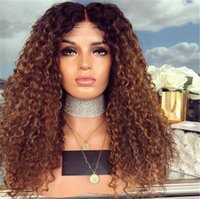 Wholesale ombre kinky straight wig online - Peruvian Kinky curly Full Lace Wigs with Baby Hair Remy Human Hair Ombre Color Wigs Pre Plucked Hairline Bleached Knots