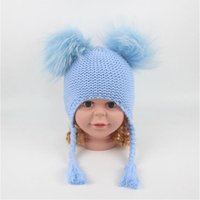 93b136eb2ca 6 Colors Children Cute Winter Hats Two Faux Raccoon Fur Pompom Hat Baby  Knitted Cap Warm Ears Earflap Thick Kids Beanies CCA10952 10pcs