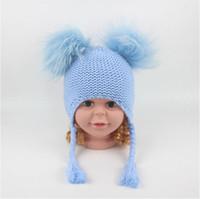 Wholesale kid crochet hat for sale - 6 Colors Children Cute Winter Hats Two Faux Raccoon Fur Pompom Hat Baby Knitted Cap Warm Ears Earflap Thick Kids Beanies CCA10952