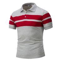 fremde polo großhandel-Mens Slim Gestreiftes Kurzarm-T-Shirt Europäisches und Amerikanisches Casual Polo-Shirt Außenhandel Mens Short T-Shirt