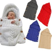 Wholesale hand knitted wool bags resale online - Baby knit button Sleeping Bag Swaddle Wrap Wool Crochet Newborn Infant Button Decor Winter Warm Stroller Blanket AAA1735