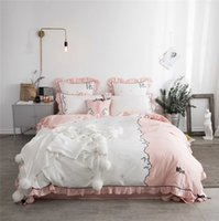 Wholesale bedspreads for king beds online - 2018 Cute cat Bedding Sets Luxury pillowcase Embroidery Bedsheet Duvet Cover Bedspread Bedclothes Bed Linen for girls