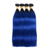 ingrosso capelli azzurri del corpo brasiliano-Brasiliani capelli umani tesse ombre fasci di capelli umani 1BBlue dritto onda trame di capelli umani estensioni 3 4 bundles