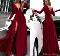 Wholesale royal blue silk evening dresses for sale - Group buy Sexy Dark Red Long Sleeve Split Evening Dresses A Line V Neck Front Slit Floor Length Formal Vestidos Party Prom Gowns With Buttons