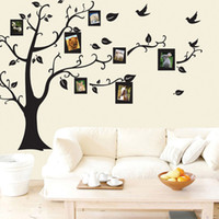черная рамка стены дерева оптовых-Family Picture New Design Photo Frame Tree Wall Art Sticker  Decal Home Decor Black