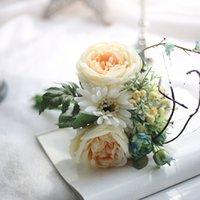 fake rose bunch venda por atacado-Novo design de 6 cabeças de Seda Gerbera Rose Bunch Flor flor artificial Falso para o casamento Decoração de Casa
