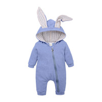 Wholesale clothes for sleeping for sale - Cute Rabbit Ear Hooded Baby Rompers For Boys Girls Newborn bunny ear Climbing clothes Jumpsuit Infant Costume Baby sleeping bags B11