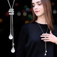 Wholesale long paragraph sweater chain necklace resale online - tassel sweater chain female long paragraph simple artificial pearl pendant long necklace clothes pendant accessories