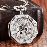 Wholesale clock dropship resale online - Luxury Sliver Color Mechanical Pocket Watch Men Women Clock Hollow Skeleton Gear Dial FOB Chain Watches for Dropship Collection T200502
