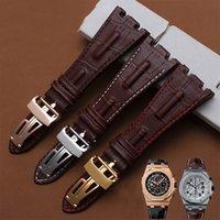 kahverengi bilezik saati toptan satış-Kalite hakiki deri kordonlu saat 28mm kahverengi bilezik AP için erkekler için yedek deri saat kayışı