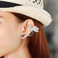 strass en forme de papillon achat en gros de-Clip de forme de papillon de manchette d'oreille de strass de mode de femmes 5 x 3cm / 2.0 x 1.2inch sur argent repoussent, anneau d'oreille