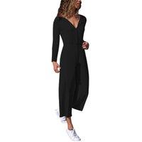 düğme bacağı toptan satış-Kadınlar Geniş Bacak Tulum O Boyun Uzun Kollu Casual Katı Romper Bayanlar Orta Bel Düğmeler Up Moda Tulum Tulumları # FB
