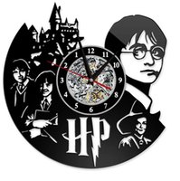 Wholesale harry potter home decor for sale - Group buy Harry Potter Clock Theme Art CD Record Clocks Vinyl Record Antique LED Wall Hanging Clock Black Hollow Home Decor Clocks GGA2656