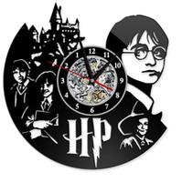 ingrosso orologio da parete in europa-Harry Potter Clock Theme Art CD Record Orologi Vinile antico LED appeso a parete Orologio nero Hollow Home Decor Orologi GGA2656