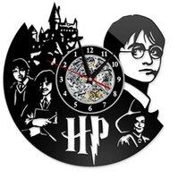 saat duvarı asılı toptan satış-Harry Potter Saat Tema Sanat CD Kayıt Saatler Vinil Kayıt Antika LED Duvar Asılı Saat Siyah Hollow Ev Dekor Saatler GGA2656