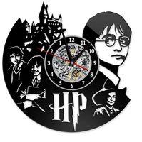 temas de arte al por mayor-Reloj de Harry Potter Tema Arte CD Registro Relojes Disco de vinilo Antiguo LED Reloj colgante de pared Negro Hueco Decoración para el hogar Relojes GGA2656