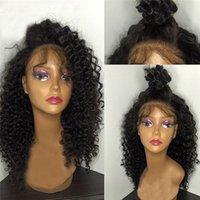 peruca curvada completa da onda venda por atacado-Kinky Curly Peruca Cheia Do Laço 100% Indiano Peruca de Cabelo Humano Kinky Curl Natural Cor Preta Bella Cabelo Frete Grátis Perucas de Cabelo Por Atacado