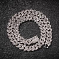 pulseira de colar de zircon venda por atacado-Hip-hop Mosaicos Híbridos Colar de Zircão Hip hop Jóias de Cobre de Prata de Ouro Material CZ Mens Colar Pulseira Novo