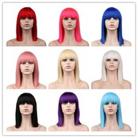 Wholesale white black straight wig for sale - Short Straight Cosplay Wig For Party Costume Red Blonde Blue Green Pink High Temperature Fiber Synthetic Hair Wigs