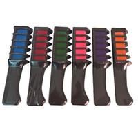 saç boyası renk setleri toptan satış-6 adet / takım Yeni Geçici Saç Rengi Tebeşir Tozu ile Tarak Mini Tek Kullanımlık Saç Maskara Renkli Boya