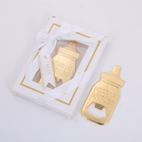 Wholesale baby shower packages resale online - Baby Shower Return Gifts for Guest Supplies Poppin Baby Bottle Shaped Bottle Opener with gift box packaging Wedding Favors Party Souvenirs