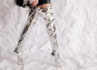 leder hohe knieplattform großhandel-Dipsloot 2019 Weibliche Sexy PU Lackleder Silber Dicke Plattform Oberschenkel Hohe Stiefel Frauen Super Dünne High Heels Über Knie Stiefel