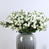 ingrosso decorazione fiore bianco-Rose Bud Artificiale Fiori Matrimonio Bianco Rosa San Valentino Romantico Display Simulazione Fiore Moda Semplice Camera da letto Home Decor 7thD1