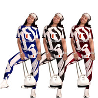 Wholesale cow clothing online - Champions Clothes Women Spring Tracksuit Short Sleeve Tshirt Pants Two Piece Outfits Summer Cow Stripe Joggers Clothing sportswear A3151
