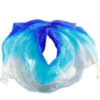 mujer sexy bailando velos al por mayor-Mujeres de calidad de seda seidenschleier sexy danza del vientre velo bufanda 100% auténtico velo de seda danza del vientre blanco + turquesa + azul real