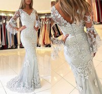 Wholesale charming elegant sexy lace backless mermaid resale online - Charming Lace Mermaid Prom Dresses V Neck Sweep Train Appliques Backless Special Occasion Dress Elegant Chic Formal Party Evening Gowns