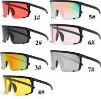 sunglasses yellow lenses großhandel-Unisex Vintage Sonnenbrillen Retro Übergroße Sonnenbrille Frauen Steampunk Spiegel Rosa Sonnenbrille Männer Rot Gelb Klare Linse Brille 10 Stücke
