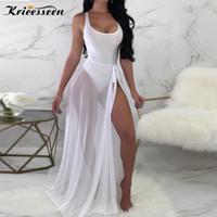 взрослое оптовых-Kricesseen сексуальные две части видеть сквозь пляжные комплекты модные женские твердые боди с прозрачным сетчатым покрытием Ups шифон юбка костюмы