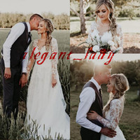 Wholesale shorter lace wedding dress for sale - Group buy Plus Size Boho Wedding Dresses with Long Sleeve Full Lace Applique Sheer Neck Illusion Covered Button Country Beach Bridal Gowns