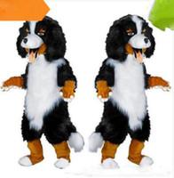 trajes de dibujos animados blanco negro al por mayor-Diseño rápido Personalizado Blanco Negro Perro de Oveja Mascota de disfraces personaje de dibujos animados vestido de lujo para la fuente del partido Tamaño adulto olome