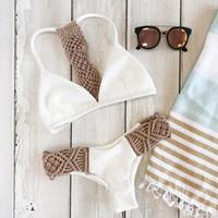 weißer trägerloser bikini großhandel-Mädchen-reizvoller Bikini-Frauen-Häkelarbeit-Badeanzug-Damen-Zapfen-aufgeteilte Schwimmen-Klage trägerloser weißer Frauen-Badebekleidungs-Bikini