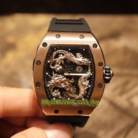 Wholesale best china watches for sale - Group buy Best version RM Jackie Chan Skeleton D China Dragon Totem Dial Miyota Automatic RM057 Mens Watch Rose Gold Case Rubber Designer Watches