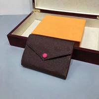 düğme g toptan satış-Tasarımcı cüzdan Yeni tasarımcı düğme kadın kısa cüzdan kadın moda çanta ABD tarzı L çiçek desen kadınlar çantalar çanta kutusu ile