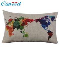 dünya haritası davası toptan satış-Ouneed Keten Pamuk Dünya Haritası Yastık Kılıfı Retro Dekoratif Yastık Kılıfı Uzun Kapak 30 cm * 50 cm Hediye 1 adet Damla