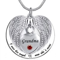 Wholesale grandma necklaces resale online - Angel Wing Memorial Keepsake Ashes Urn Pendant Birthstone crystal Necklace i used to be his angle now he s mine for Grandma