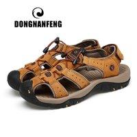 sandalias de los hombres coreanos al por mayor-DONGNANFENG Hombre Casual Vaca Casual Zapatos de cuero genuino Sandalias Verano Fresco Exterior Gancho Loop Retro Korean Beach 46 47 LXZ-7238