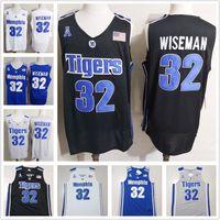 черный баскетбол джерси бесплатная доставка оптовых-Мужская Мемфис Тигры #32 Джеймс Вайзман NCAA колледж баскетбол Джерси черный белый синий серый горячие продажи высокое качество Бесплатная доставка S-3XL