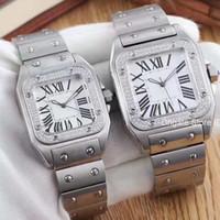pilas de reloj de cuarzo al por mayor-2019 Reloj Cuarzo-Batería Lujo Acero inoxidable Oro rosa DIAMANTE Diseñador Hombres Relojes para mujer Relojes de pulsera