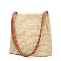 dokuma çanta yaz toptan satış-Promosyon! Kadın Çanta Moda Hasır Dokuma Tote Büyük Kapasiteli Yaz Plaj Omuz Çantaları Rahat Hasır Çantalar
